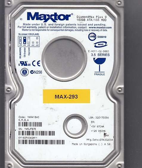 MAXTOR 6Y160P0 DRIVERS
